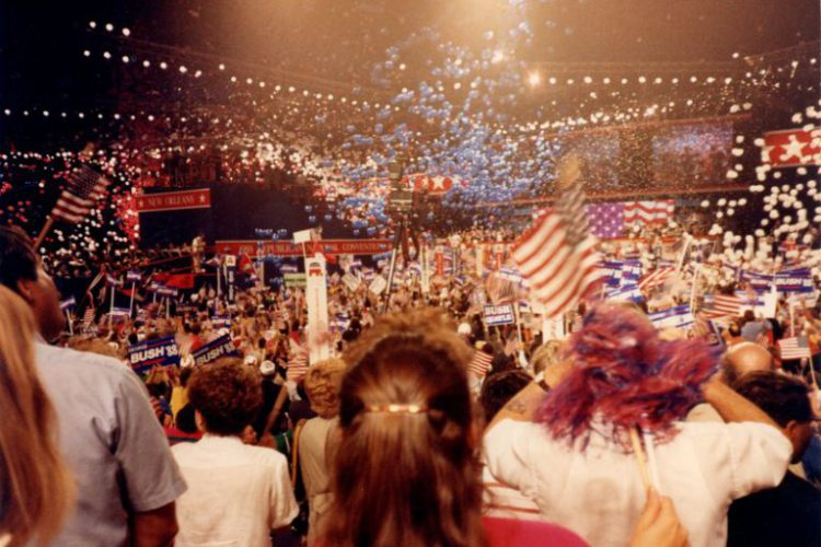 See the balloon drop in this video snippet from the Convention.