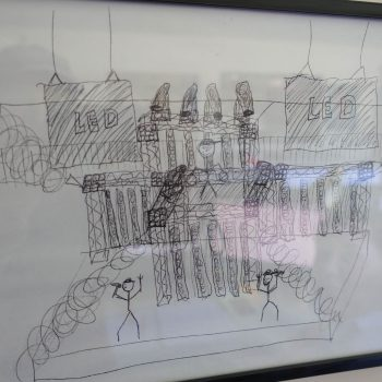 A framed scenic sketch