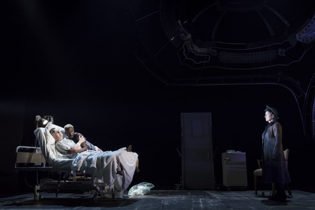10. Nathan Lane (Roy Cohn), Nathan Stewart-Jarrett (Belize) and Susan Brown (Ethel Rosenberg) in AngelsInAmerica Perestroika photo by Helen Maybanks