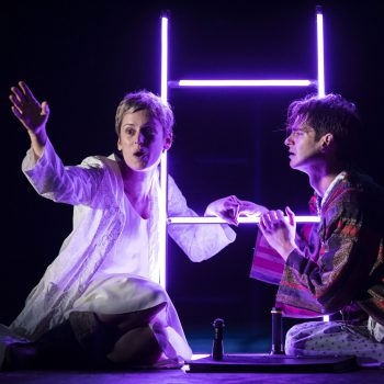 Denise Gough (Harper) and Andrew Garfield (Prior) in Angels in America Perestroika. Photo by Helen Maybanks.