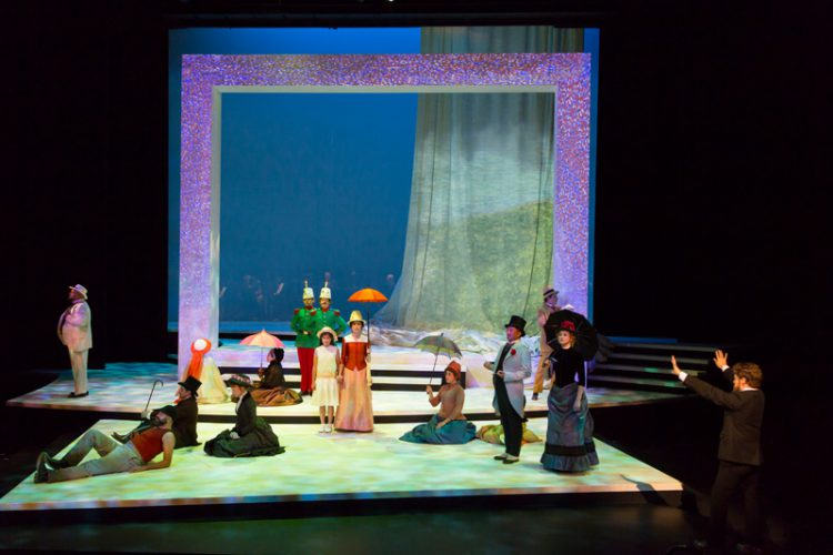 The cast of the Guthrie Theater's production of Sunday in the Park with George, with music and lyrics by Stephen Sondheim, book by James Lapine, directed by Joseph Haj. Scenic design by Jan Chambers, costume design by Toni-Leslie James, lighting design by Jane Cox, projection design by Caite Hevner. June 17 – August 20, 2017 on the Wurtele Thrust Stage at the Guthrie Theater, Minneapolis. Photo by T Charles Erickson.