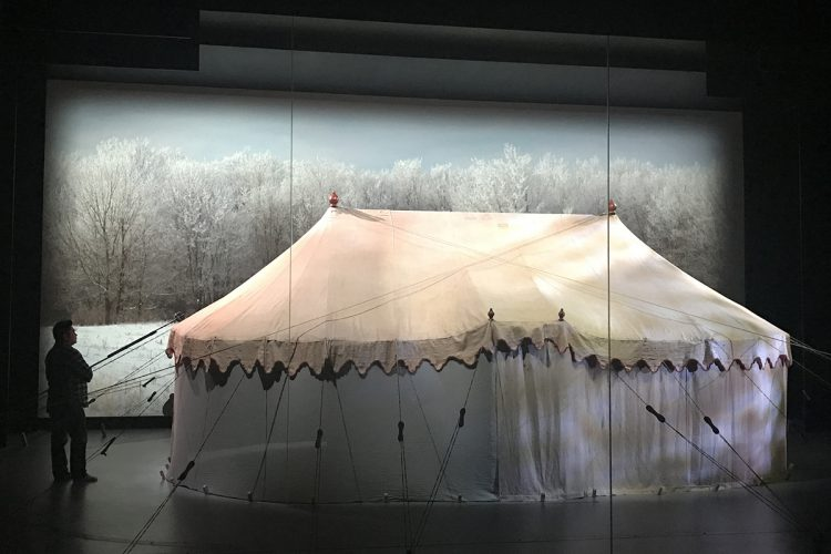 George Washington's tent with a video snow backdrop at the Museum of the American Revolution. Photo by Tanner McGrath.