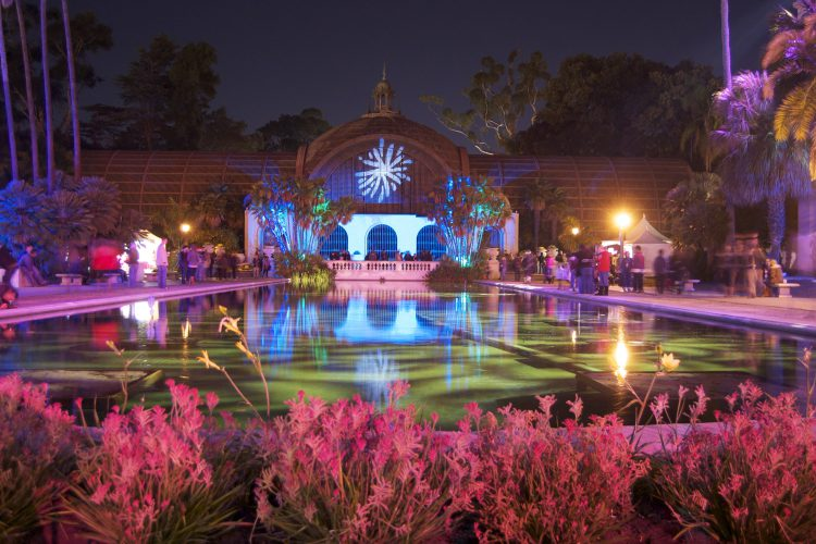 The lily pond and Botanical building in Balboa Park during the December Nights festival, with lighting design by Chris Rynne and a Nomad Puck. Photo by Manny Cencieros.