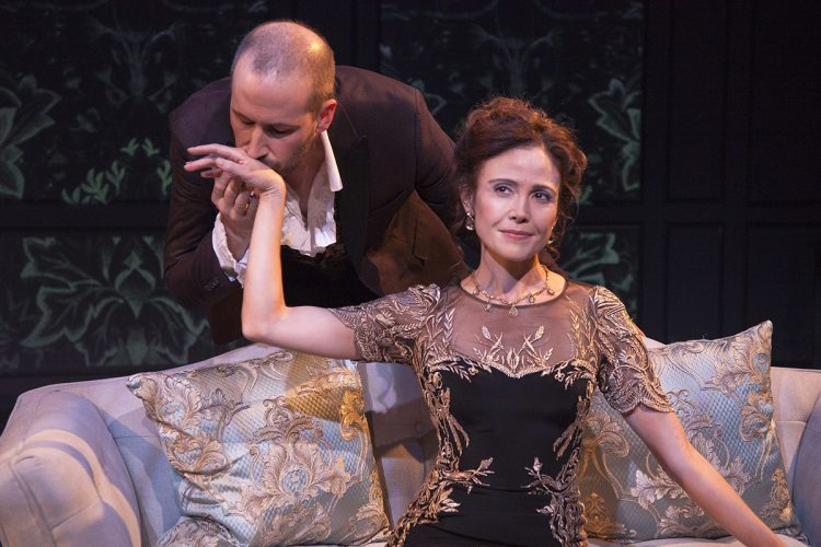 Scott Ferrara and Reiko Aylesworth in Antaeus Theatre Company's 2017 production of Les Liaisons Dangereuses. Photo by Geoffrey Wade Photography