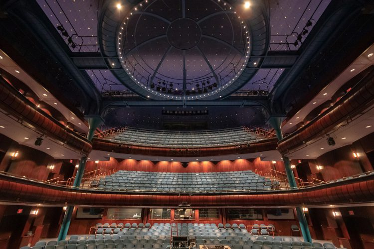 The interior of the Newmark Theatre with upgraded LED house lighting and new show lighting infrastructure from ETC. Photo by Jeremy Jeziorsky