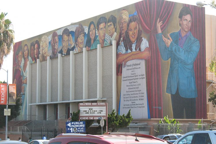 The exterior of Hollywood High's theatre, with some of their famous alums.