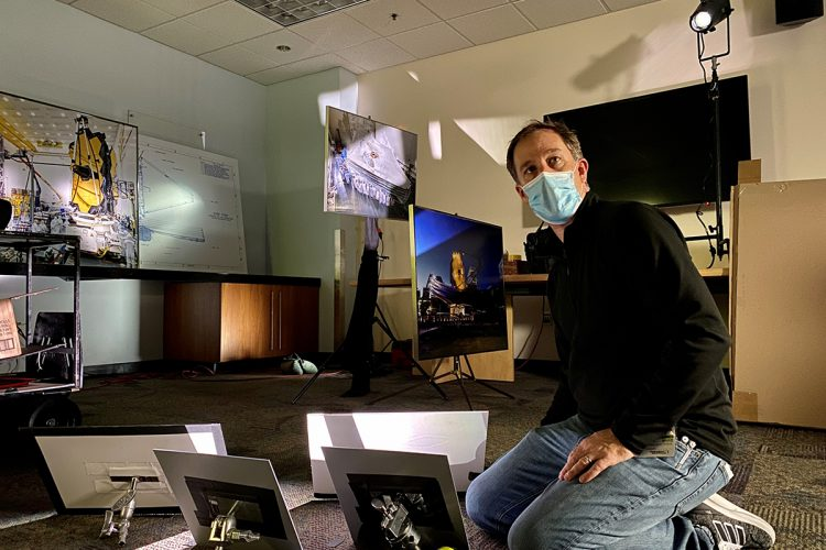 "Blake Hottle used mirrors to break up the beam from a ColorSource Spot jr to inventively light the background for a ""60 Minutes"" piece on the James Webb Space Telescope"